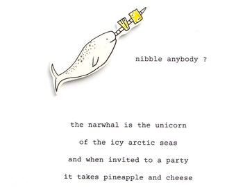 narwhal's nibbles - birthday card - poem card - funny card - narwhal card - handmade birthday card