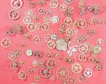 109  Vintage Steampunk Watch Gears Wheels Parts Altered Art.#-11