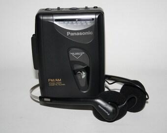 Old School Panasonic RQ-V54 Personal AM FM Radio Cassette Player & Headphones
