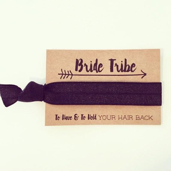 Bachelorette Bride Tribe Hair Tie Favor | Black Hair Tie Favor, Black Bachelorette Party Hair Tie Favors, Bridesmaid Gift, Black Hair Ties