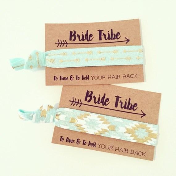 Mint Bride Tribe Hair Tie Favors   Mint + Gold Aztec Tribal Bachelorette Hair Ties, Boho Bachelorette Hair Tie Favor, Bohemian Aztec Print