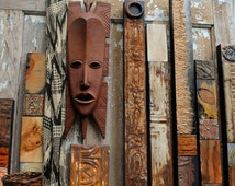 Primitive Bohemian Folkart Tribal African Indian Mideastern Old Distressed Wood Salvage Architectual Metal Lg Sized Wall Totem Nomad Bedouin