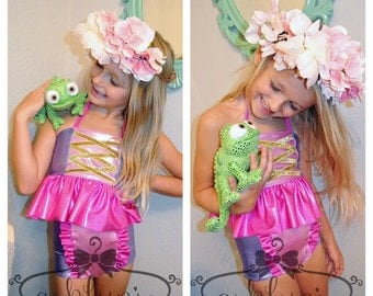 Rapunzel inspired swimsuit - made to order