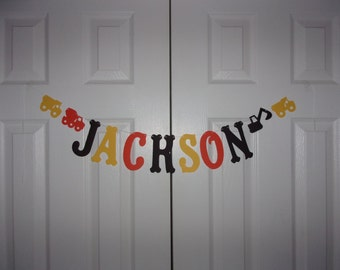 PERSONALIZED Letter Banner Orange, Yellow, Black Cardstock Paper Construction Garland Baby Shower Name Sign Birthday Party