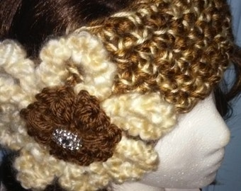 Headband, cold weather headband for women, multi brown headband, cold weather headband with rhinestone button, flower headband