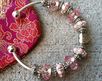 Mothers Day Cuff Bracelet, Jewelry Gift, Mom, Pink Jewelry, Gift for Her, Mother, Silver Plated, Beaded Bracelet, Mothers Day Gift