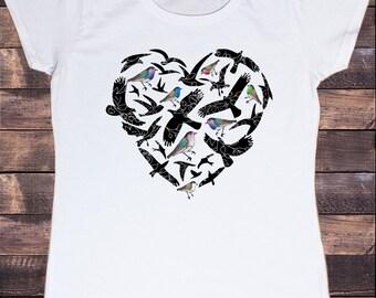 Women's White T-Shirt Bird Love Heart Print Animal Print T-Shirt Flowers Print TS326
