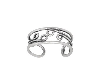 ON SALE Sterling Silver .925 Spiral Waves Toe Ring adjustable size   Made In USA
