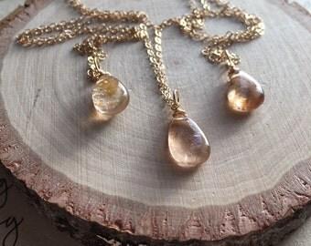 Topaz Necklace - Champagne Topaz Necklace- November Birthstone Jewelry- Topaz Jewlery - Imperial Topaz Necklace