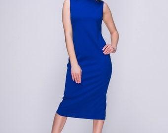 Simple Royal Blue MIDI Dress.Elegant Sleeveless Day Dress.