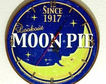 "Moon Pie Wall Clock - 11-3/4"" Diameter - New"