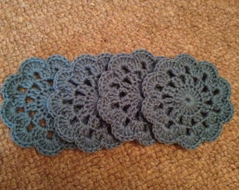 Handmade Petrol Blue Crocheted Coasters (Set of 4)