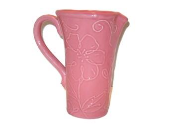 Vintage Pink Pitcher, Vase, Home Decor, Flower Pitcher, Flower Vase, FTD Vase, Pitcher, Pink Home Decor, Pink Pitcher Vase, Pottery Pitcher