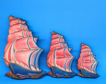 Miller Studios Pirate Ship Wall Plaques Set of 3