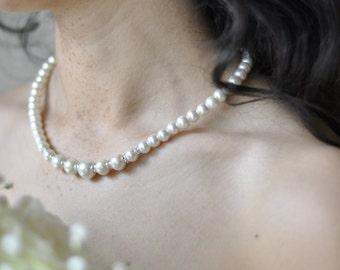 Pearl Necklace with Swarovski stones