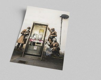 ACEO Banksy Phone Booth Spies Graffiti Street Art Canvas Giclee Print