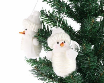 Snowman Christmas Xmas Tree Decorations, Ornament Figurine Fabric Gift