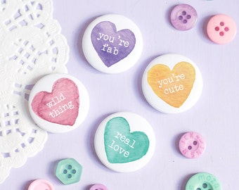 Conversation Heart Badges - Rainbow Love Collection - Button Pin