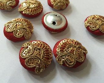 3 Fabric Covered Red buttons,Fabric Buttons,Wedding buttons,Decorative Buttons,costume buttons,Handmade Buttons,Embroidery fabric Buttons
