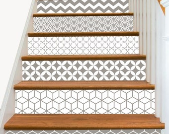 15steps Stair Riser Vinyl Strips Removable Sticker Peel & Stick : S001 Geometrical Taupe