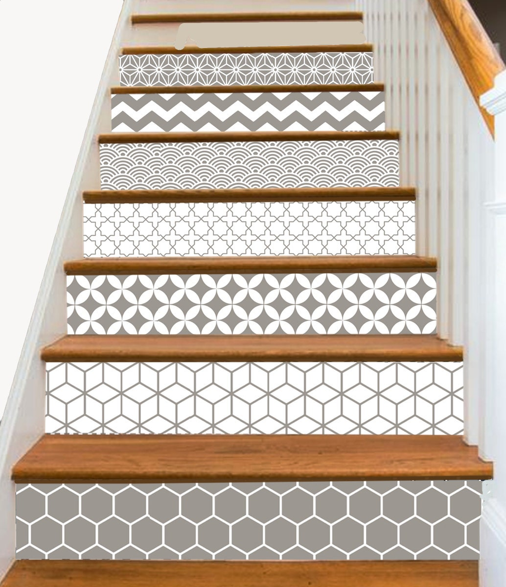 15steps stair riser vinyl strips removable sticker peel - Stickers pour placard coulissant ...