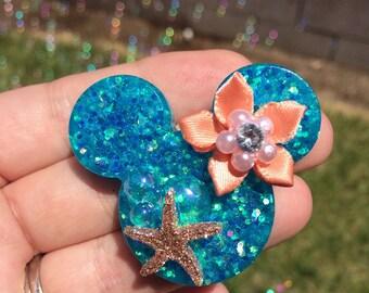 Handmade mermaid inspired mickey brooch