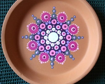 Hand painted mandala jewelry tray, drink coaster
