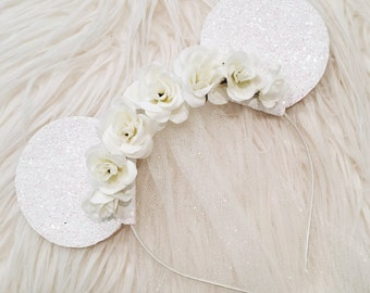 Bride Floral Glitter Minnie Mouse Ears with Tulle Veil // Disney Wedding Inspired Mouse Ears