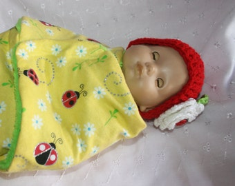 Bitty Baby Buntingwith lady bugs and matching hat