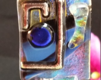 Handcrafted, Clear Dichroic, Multi Colored Dichroic on Black, Fused, Art Glass, COE 90, Dichroic Pendant