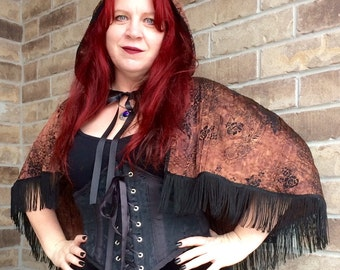 Steampunk Hooded Fringed Capelet