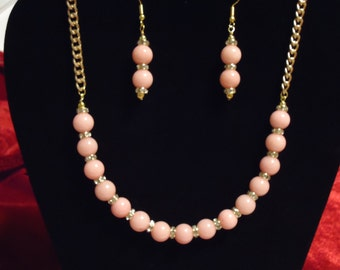 Pink Jade Round Stone Necklace and Earring Set