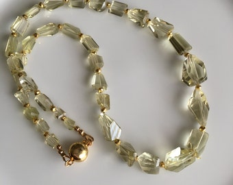 Lemon Quartz Necklace, Semi Precious Luxe Necklace (44-CC)