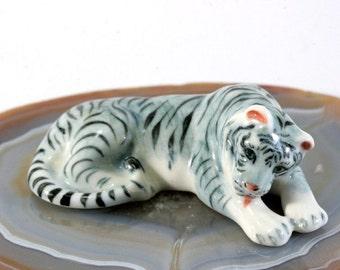 White tiger - handpainted porcelain figurine  - 1691