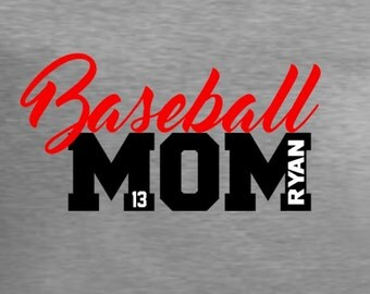 Baseball Mom with personalization, your choice of colors, multiple player names.  Customized baseball mom shirt, tank top.