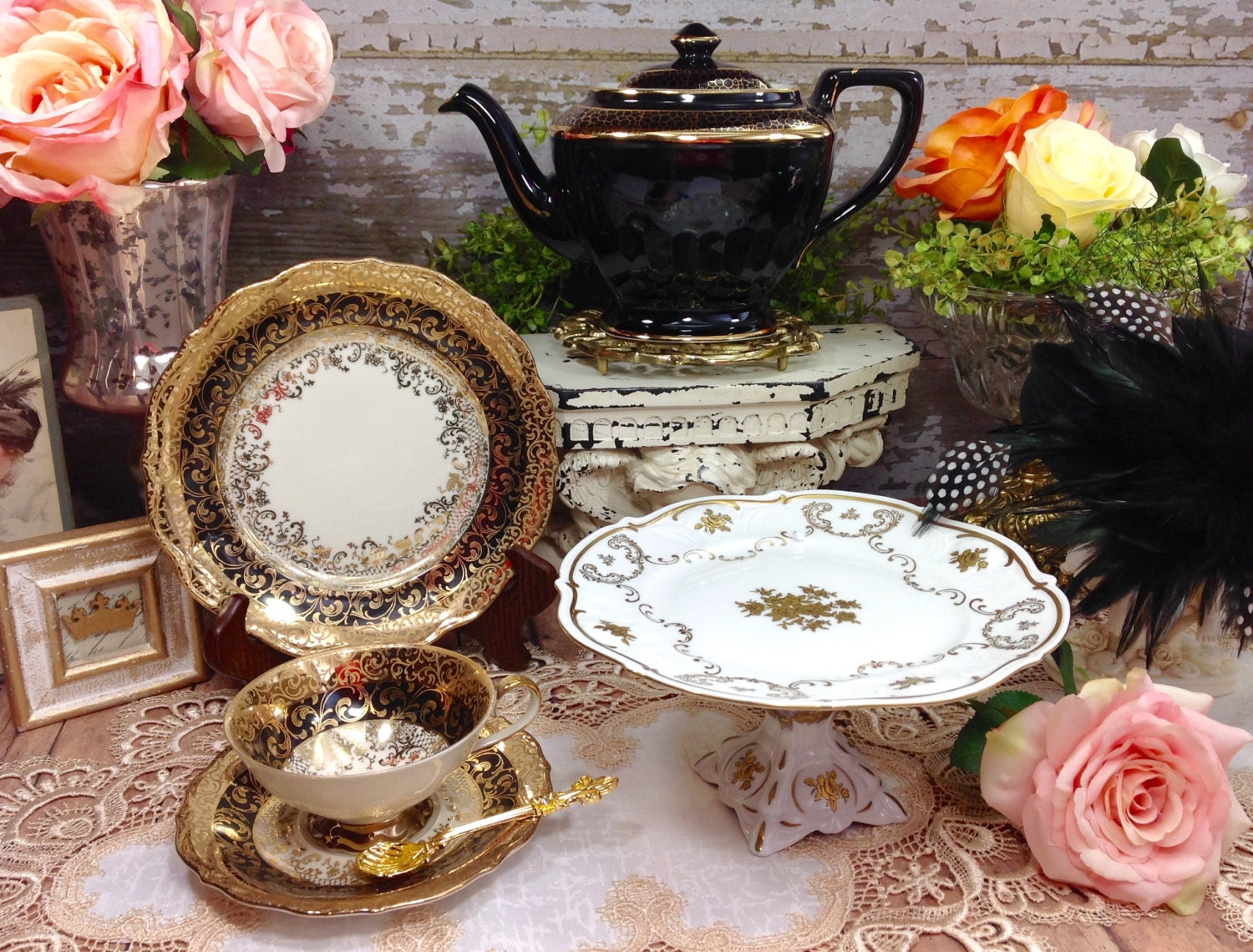 German Wedding Gift Ideas: Decadent Vintage PM Germany Footed Gold Black Floral