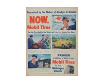 Petroliana 1947 Mobiloil Mobilgas Mobil Tires **Digital Download** Advertisements Ads Old Vintage Classic Retro Magazine Ready Wall Art