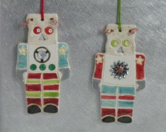 Robot General Ornament, Handmade Ceramics Karlene Voepel.  Sold individually.