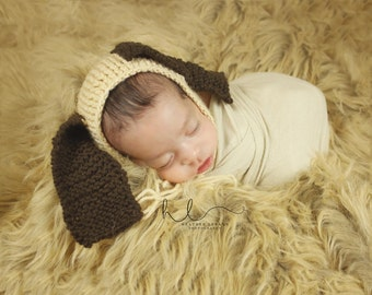Newborn Hat Bonnet/ Puppy Dog/ Brown and Tan MADE TO ORDER
