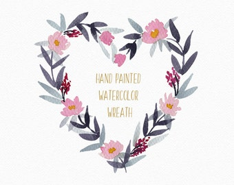Watercolor floral wreath, heart shaped floral clipart