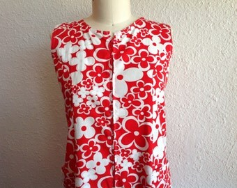 1960s Red and white cotton shift dress