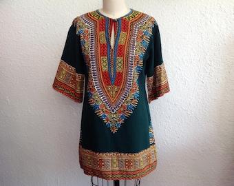 1970s Green dashiki tunic/ mini dress