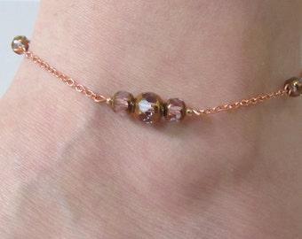 Violet and Copper Anklet