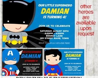 Superhero Printable Invitation First Birthday | Digital Invite Personalised, Customised Chalkboard DIY | Superman Captain America Batman