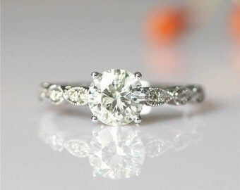 Forever Classical 6.5mm Round Cut Moissanite Ring Art Deco Engagement Ring 14k White Gold Ring Wedding Ring Moissanite Engagement Ring