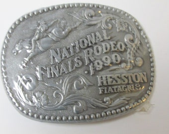 Vintage National Finals Rodeo Hesston Fiatagri Belt Buckle NEW in Plastic 1990