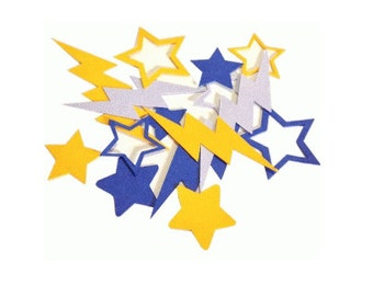 100 Pieces of LIGHTNING BOLT & Stars Confetti , Tons of Colours , decor , wedding , party , birthday , crafts , events , stars , lightning
