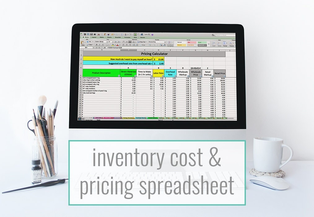 Inventory Cost  Pricing Spreadsheet Pricing Template