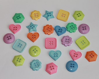Geometric shape buttons, heart, square, round, flower, triangle, star shape buttons, candy colors, lot of 50 mixed colors and shapes, 18 mm