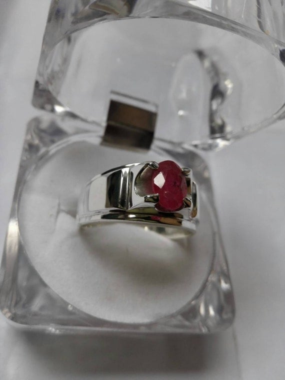Womens Natural Yaqoot Ruby Ring Dark Red Pigeon Blood By